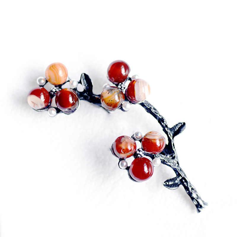 Morkopela Wanita Bros Batu Vintage Besar Bros Pakaian Pin Logam Antik Bros dan Pin untuk Wanita