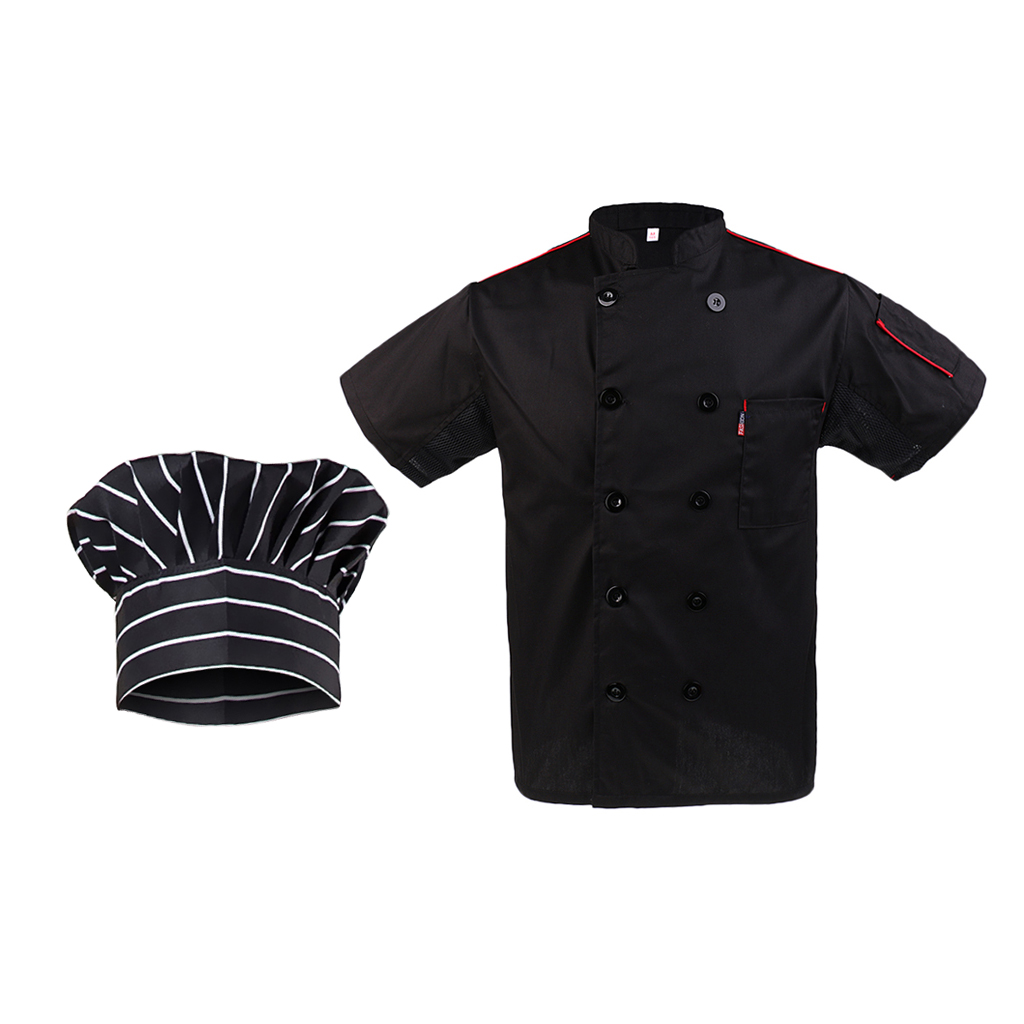 Stylish Men Ladies Chef Hat Chef Apparel Chef Jacket Short Sleeve Professional Kitchen Catering Chef Wear Uniforms