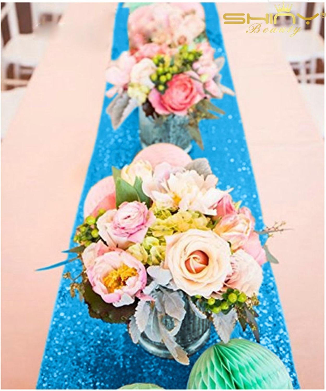 12x72-Inch Table Runners Turquoise Sequin Table Runners Elegant Table Decoration For Wedding Party-M1014