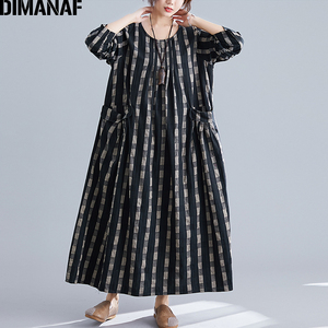 Image 1 - DIMANAF בתוספת גודל נשים שמלת חורף בציר אלגנטי ליידי Vestidos הדפסת משובץ ארוך שרוול נשי בגדי Loose ארוך שמלה 2019
