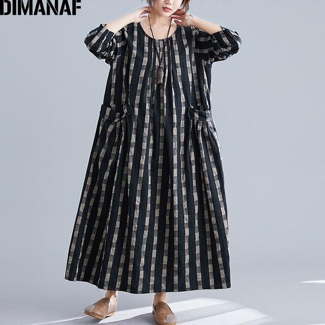 DIMANAF בתוספת גודל נשים שמלת חורף בציר אלגנטי ליידי Vestidos הדפסת משובץ ארוך שרוול נשי בגדי Loose ארוך שמלה 2019