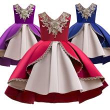 Christmas New Year Girls Dress Children Sweet Golden Lace Embroidered Sleeveless Tuxedo Dress Dress flower embroidered sleeveless maxi dress