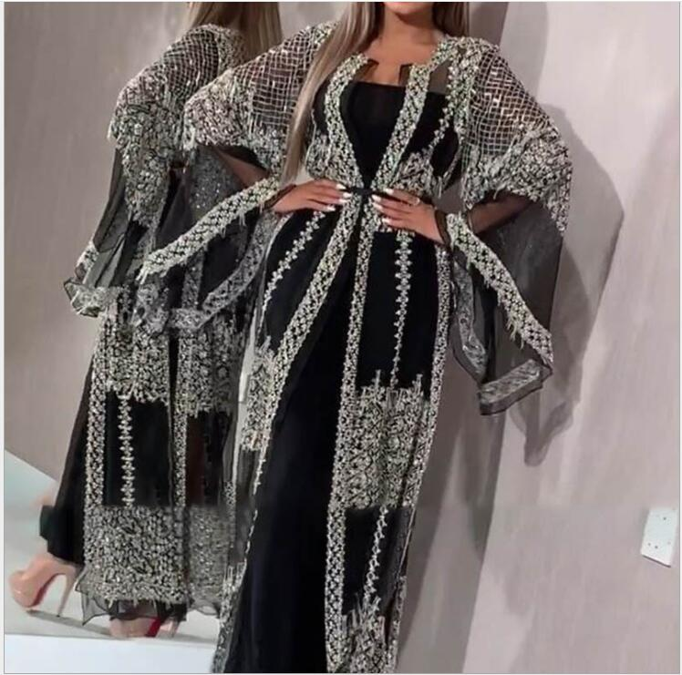 Spring 2020 New Sequins Dress Women Sexy Lace Long Sleeve Evening Party Dresses Elegant Maxi Sexy Dress Robe Longue 2pcs/set