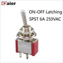 10 pces vermelho miniatura interruptor de alternância on-off spst 3a 250vac único pólo travamento interruptor de balancim 2 posições 2pin solda terminal