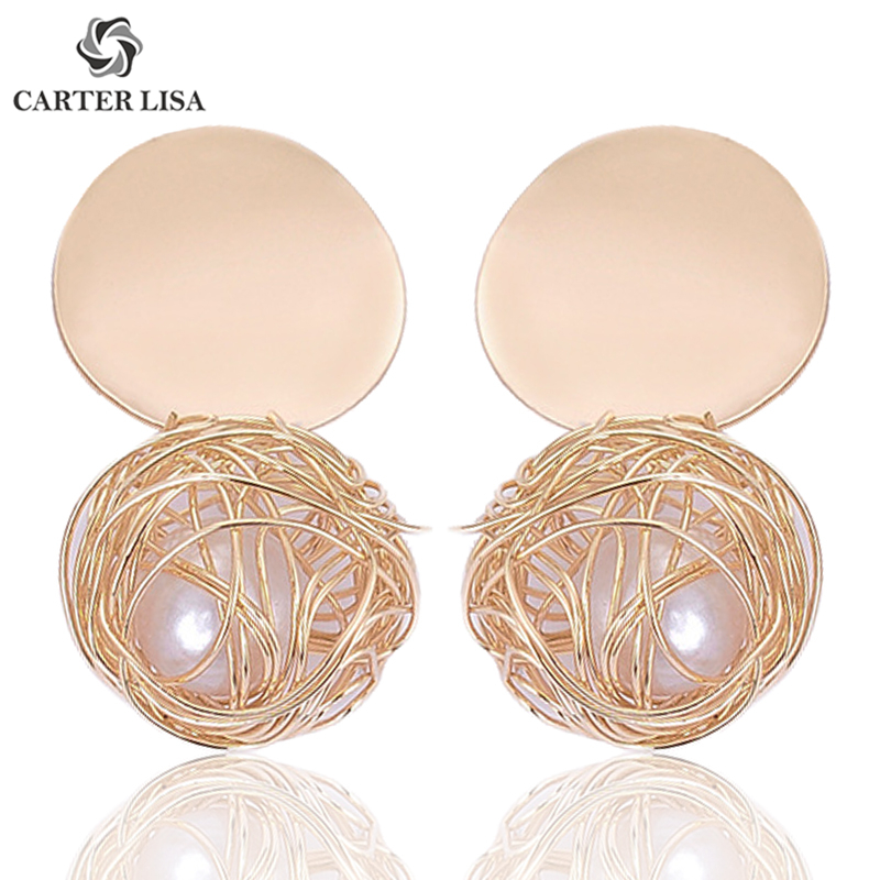 CARTER LISA Pirecing Gold Wire Pearl Geometric Round Statement Drop Dangle Earings For Women Girl Fashion Modern Jewelry Gifts