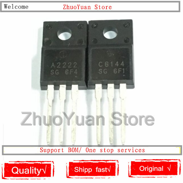 10PCS/lot 2SA2222 2SC6144 TO-220F 5pairs 5pcs A2222 + 5pcs C6144 TO-220