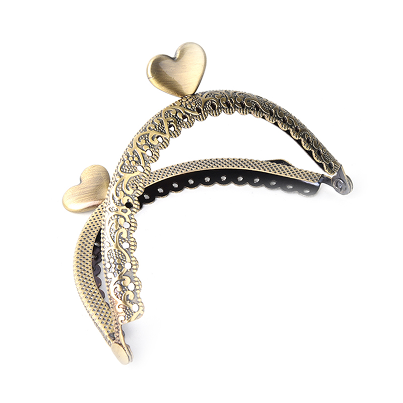 1X 8.5cm Metal Heart Coin Purse Frame Handle Kiss Clasp DIY Bag Clutch Accessory image