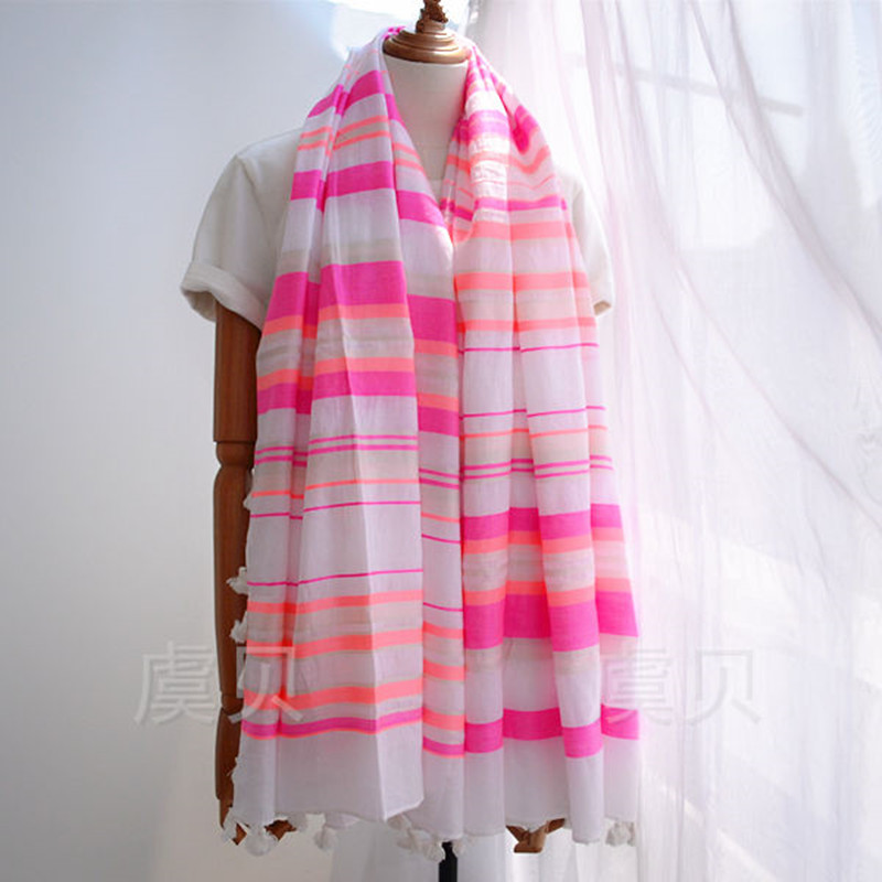 Alta qualidade algodão xale rosa listrado protetor solar verão grandes lenços quadrados moda casual toalha de praia envoltório macio para senhora