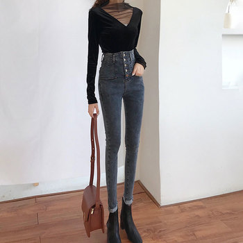 Slim Jeans For Women Skinny Jeans Woman High Waist Blue Denim Pencil Pants Stretch Female Jeans Trousers Vaqueros Mujer europe new fashion women trousers slim blue jeans woman ripped hole jeans with high waist female pencil pants large size s 2xl