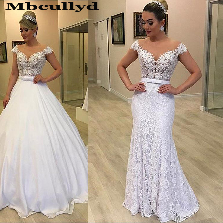 Mbcullyd Modern Tulle & Lace Jewel Neckline 2 In 1 Wedding Dresses With Detachable Skirt Two Pieces Lace Mermaid Bridal Dress