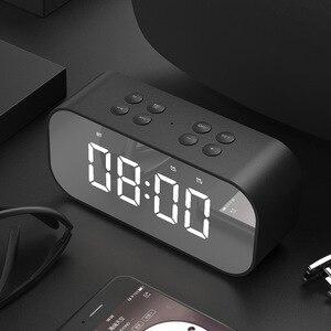 Image 2 - 블루투스 5.0 휴대용 무선 미러 스피커 열 서브 우퍼 음악 사운드 박스 LED 시간 스누즈 알람 시계 노트북 전화 번호