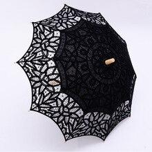 Lace Umbrella Parasol Birde Sombrillas Wedding Vintage Summer for High-Quality Wood-Handle