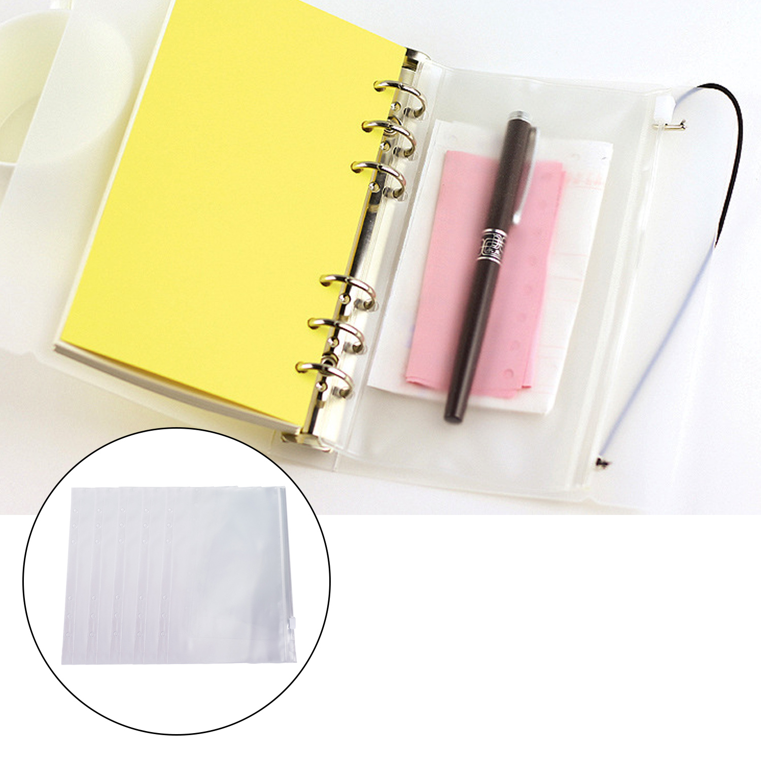 5pcs A5/A6 Clear PVC Zipper Binder Pockets 6 Hole Documents File Folder Filing Holder Pouch Bag Protectors