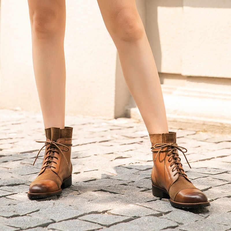 BeauToday yarım çizmeler kadın hakiki inek deri ekleme tasarım sonbahar kış inek süet bayan moda botları el yapımı 03636