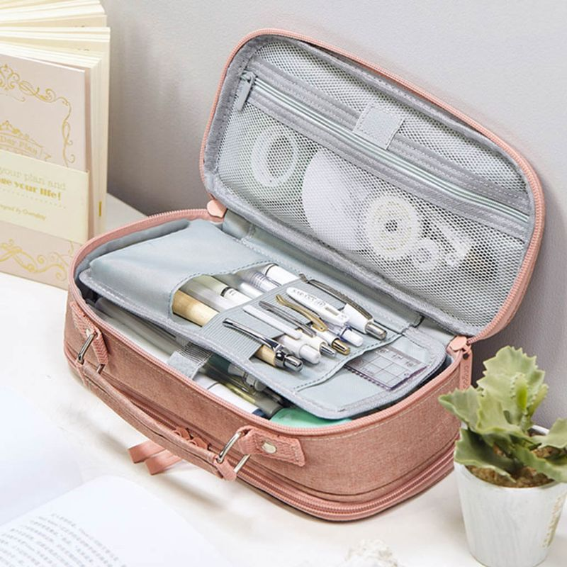 Large Capacity Double Layer Pencil Case Canvas Portable Storage Bag Stationery
