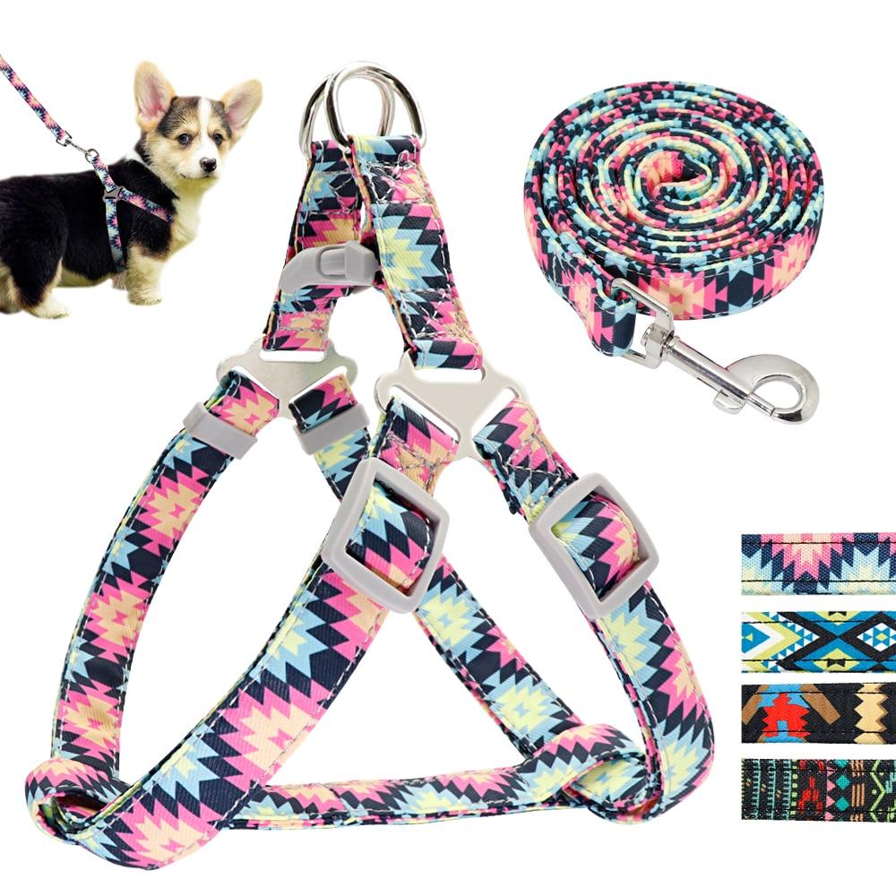 Adjustable Nylon Dog Harness Leash Set Printed Puppy Vest Pet Walking Training Leash Lead For Small Medium Dogs Chihuahua Perros