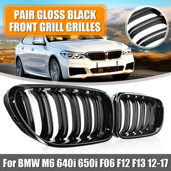 Pair 2-Slat ABS Gloss Black Kidney Racing Grille For BMW M6 640i 650i F06 F12 F13 2012 2013 2014 2015 2016 2017 Car accessories image