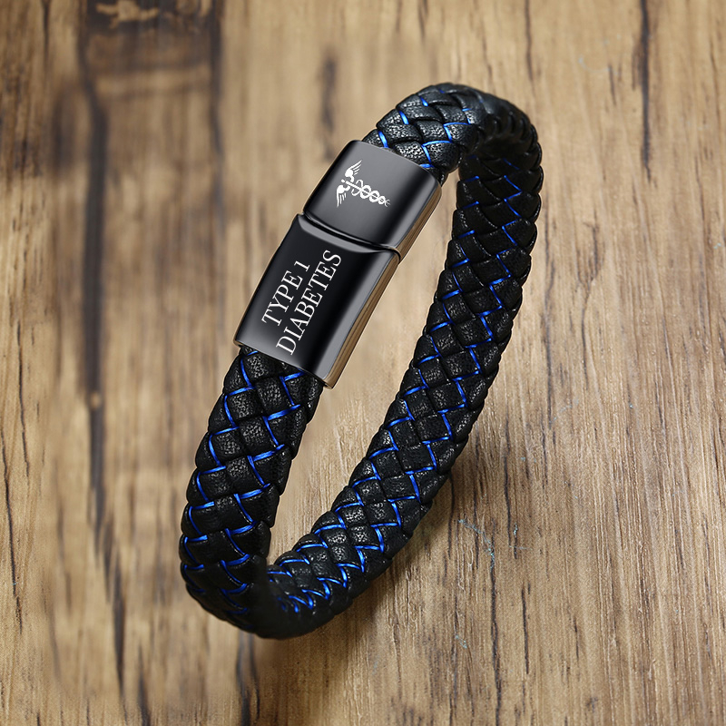 Pulsera de alerta de emergencia médica para Diabetes 1, joyería de recordatorio, pulsera de cuero negro de acero inoxidable, joyería personalizada gratis
