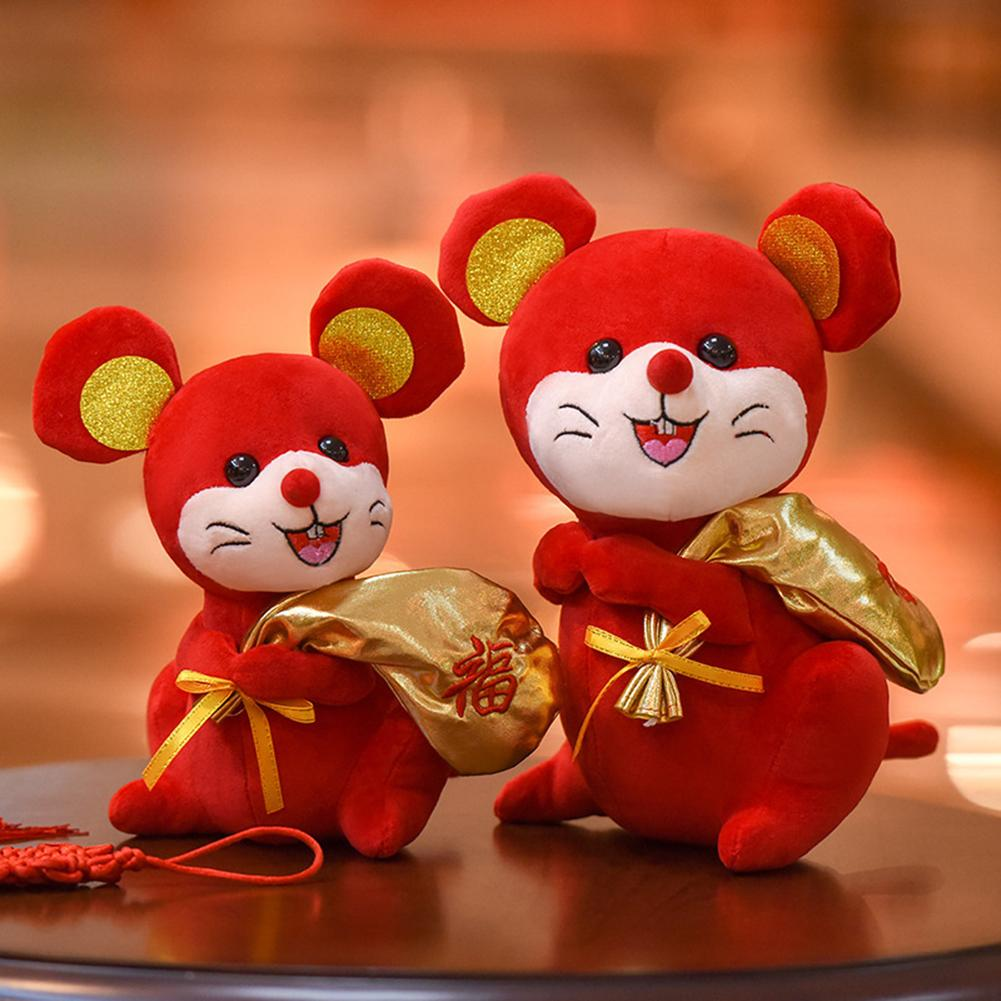 2020 Year Of The Bag Rat Mascot Plush Toy Red Chinese Knot Mouse Pendant High Quality Hanging Deacoration New Year Gift For Kids