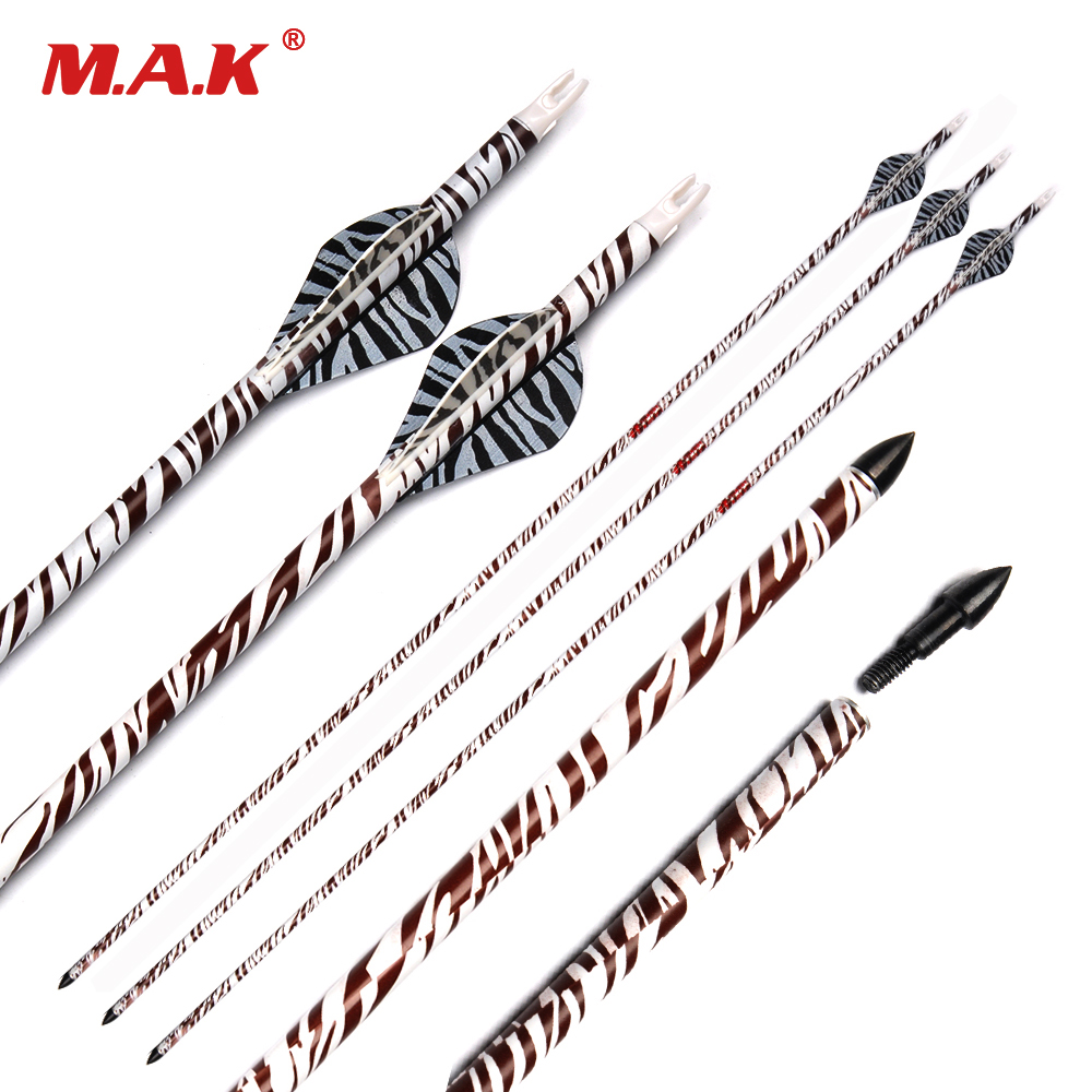 <font><b>6</b></font>/12/24 Pcs Pure Carbon Arrow Length 32 Inches Spine <font><b>400</b></font> Replaceable Arrow Tip for Compound Bow Archery Shooting image