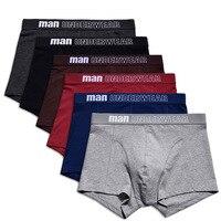 6pc/lot Sexy Boxer Ropa Ropa interior Shorts Men Big Size Cotton Boxer Shorts Men Underwear Man Cotton Boxer