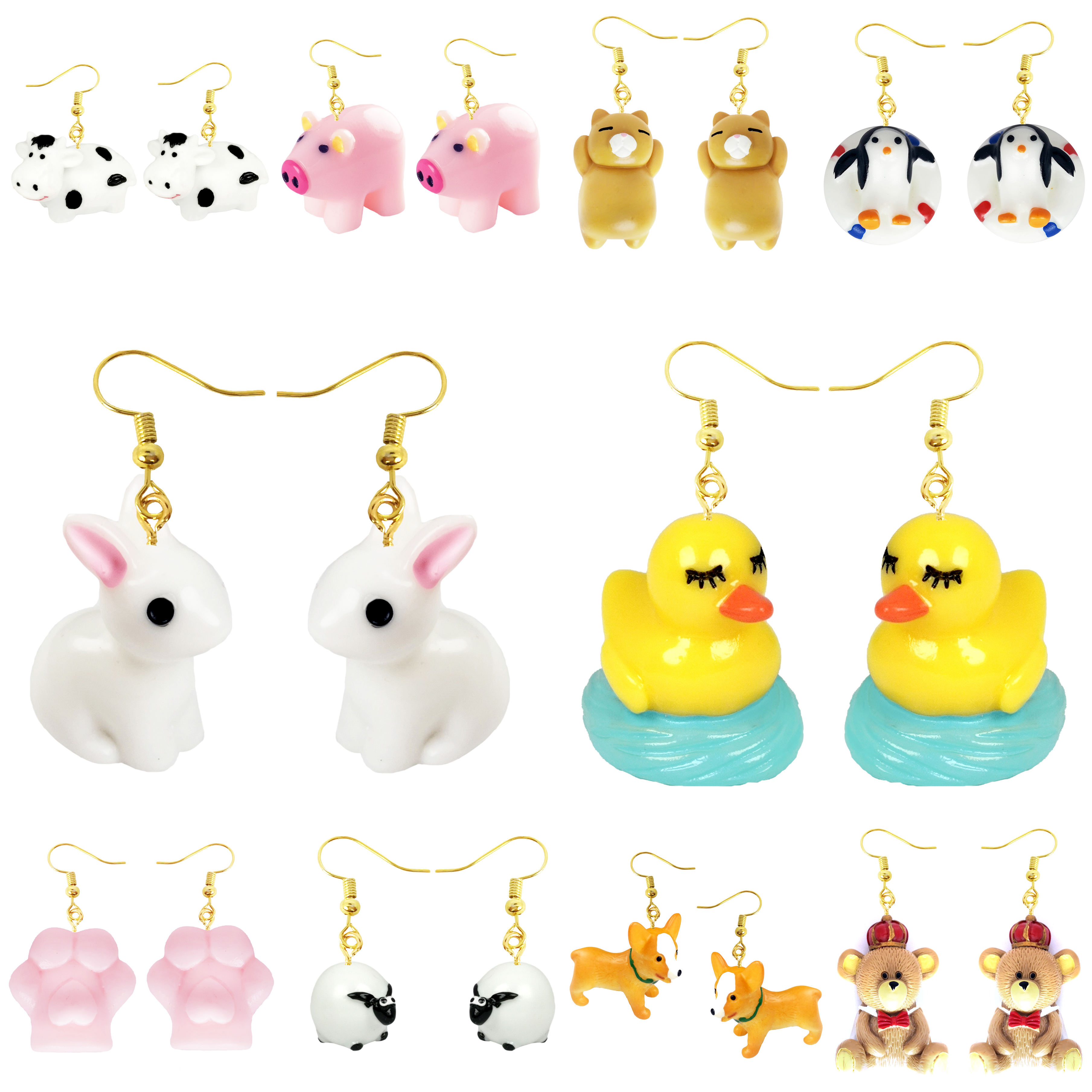 Earring For Women Resin Drop Custom Made Handmade Cute Girls Gift Eardrop Fun Cat Paw Cartoon 3D Animal Rabbit Duck
