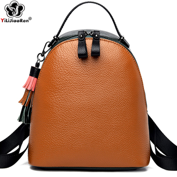 new arrival women backpack 100% genuine leather ladies travel bags preppy style schoolbags for girls knapsack holiday Fashion Tassel Backpack For Ladies Shoulder Bag 100% Genuine Leather Backpack Women Simple School Bags For Girls Cute Bagpack