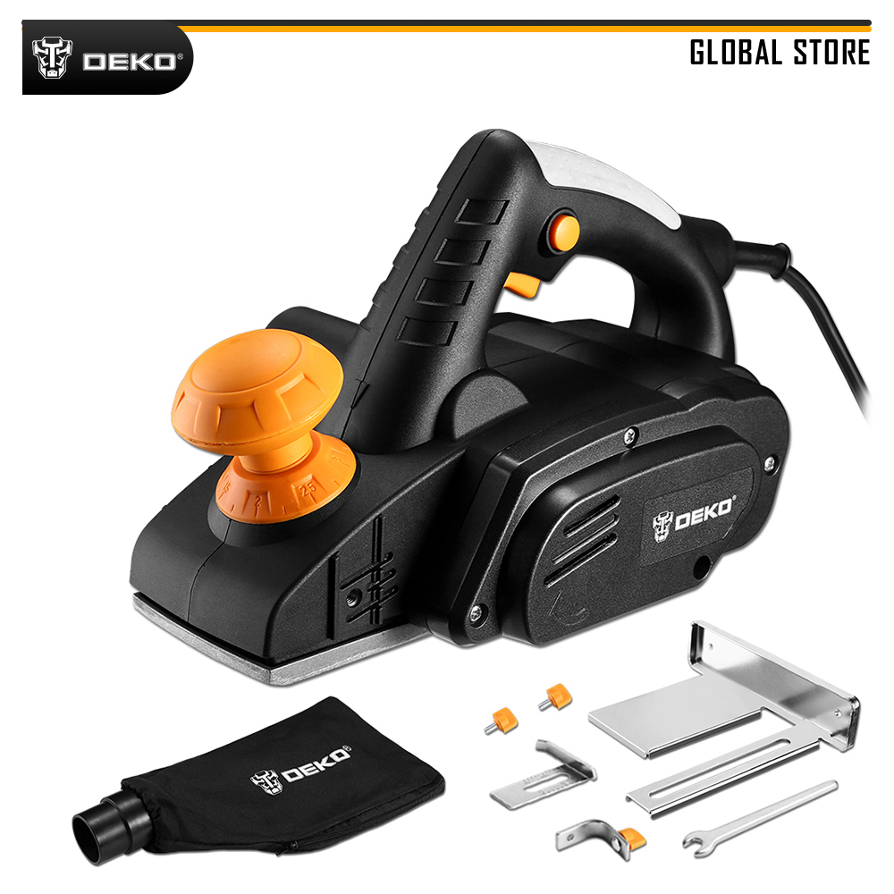 DEKO DKEP900 220V 900W Electric Planer Plane Variable Speed Hand Held Power Tool Wood Cutting With Accessories