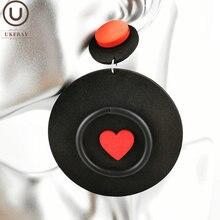 Ukebay новые серьги в форме сердца для женщин круглые большие