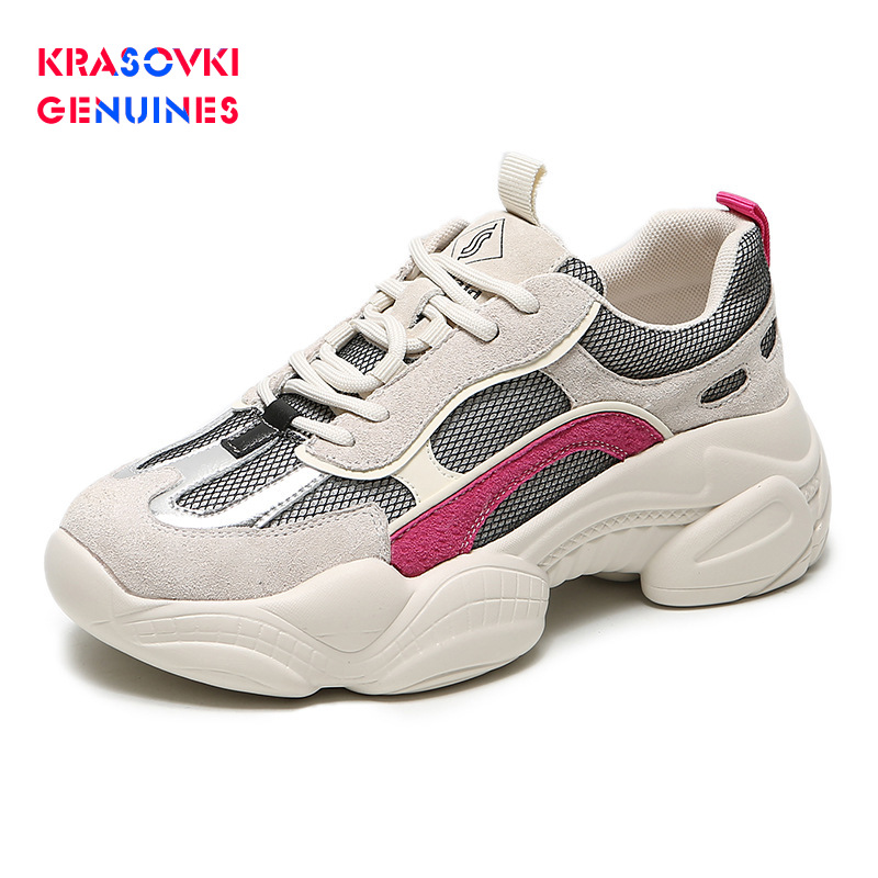 Krasovki Genuines Sneakers Women Autumn Fashion Dropshipping Thick Bottom Mesh Increased Breathable Casual Shoes