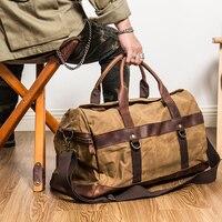 Bolso de viaje Vintage de cuero de 55cm para hombre, bolsa de viaje grande, de lona, arrugada, impermeable, verde militar