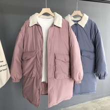 2019 winter new Korean women's solid color lapel lamb cotton padded long coat cotton clothing