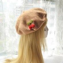 Painter-Cap Beret-Hat Cherry-Sauce Wool-Felt Female Meng Sen Da Handmade Sweet Japanese