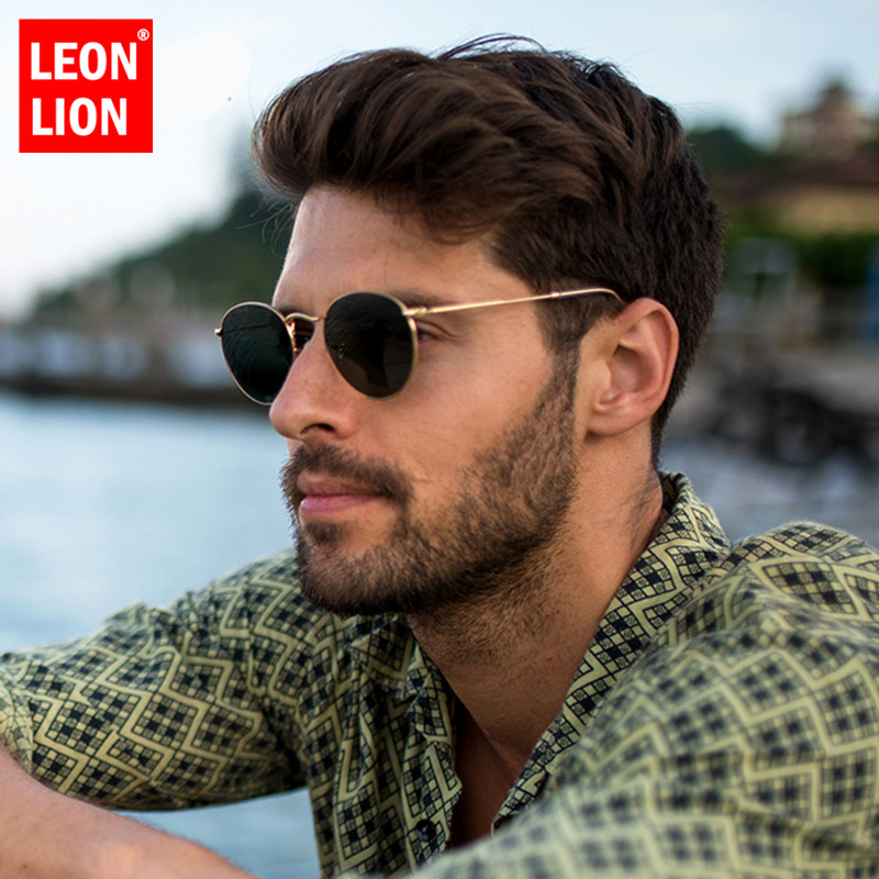 LeonLion 2020 Fashion Retro Sunglasses Men Round Vintage Glasses for Men/Women Luxury Sunglasses Men Small Lunette Soleil Homme|Men