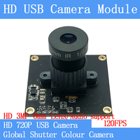 120FPS MJPEG USB Camera Module Colour Global Shutter High Speed OTG UVC Linux USB 720P Mini cctv camera Audio support/3MP 6mm