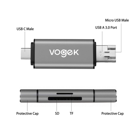 Vogek Card Reader  3-in-1 USB 3.0 SD/Micro SD SDXC SDHC Smart Memory Card Adapter for MacBook PC Tablet Smartphone Karachi