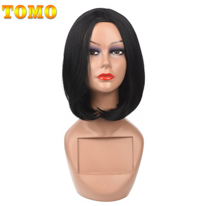 Короткие прямые синтетические волосы TOMO 14 дюймов, черные, коричневые, красные, светлые, зеленые парики для косплея