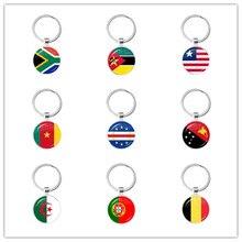 Llaveros de bandera nacional de Sudáfrica, Guinea, Argelia, Bélgica, Bélgica, Portugal, para regalo