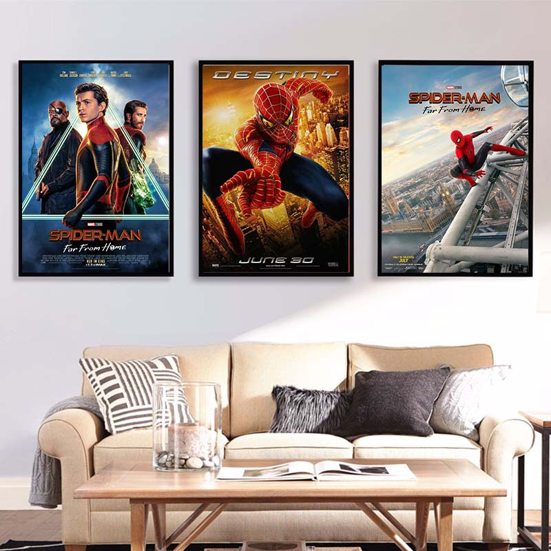 Marvel Comics Superhero Spiderman Poster Spider-Man Into The Spider-Verse Movie Printing Poster Wall Art for Kids Room Decor image