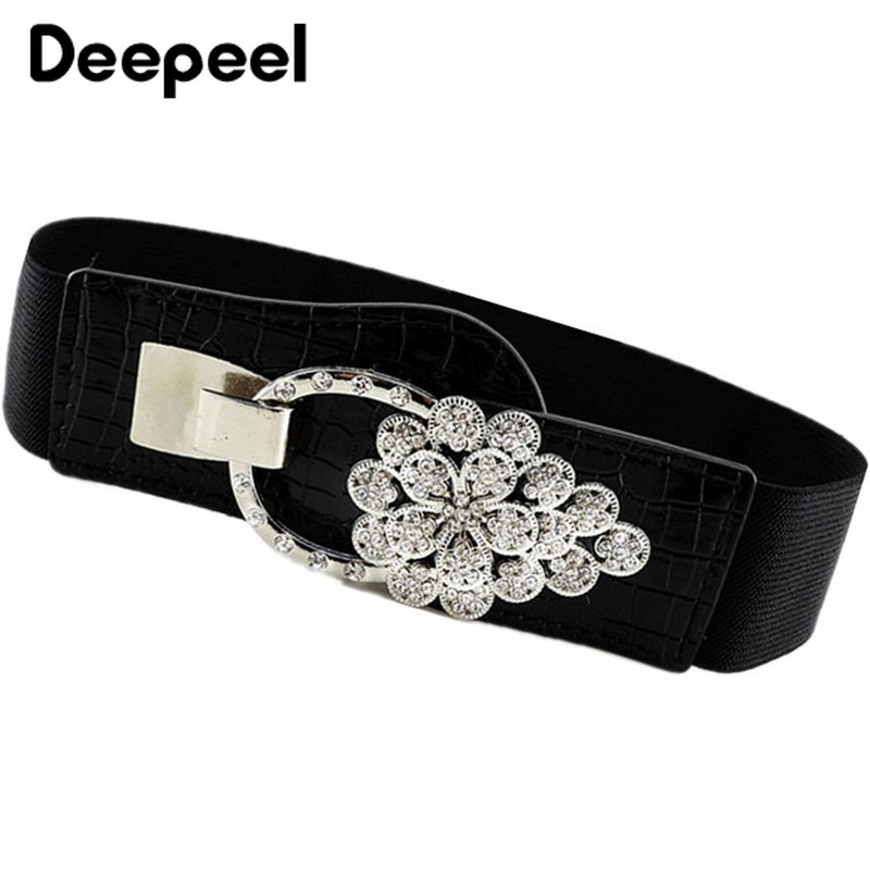 Deepeel 1pc 5cm*60cm-80cm Winter New Black Waist Women's Inlaid Crystal Luxury Elastic Wideband Wild Fashion Cummerbunds YK657