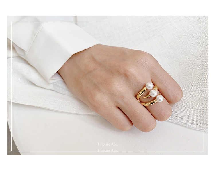Tijdloze Wonder Glam Triple Parel Claw Verklaring Ringen Vrouwen Sieraden Punk Cocktail Gothic Boho Ins Gold Rare Designer Top 8868