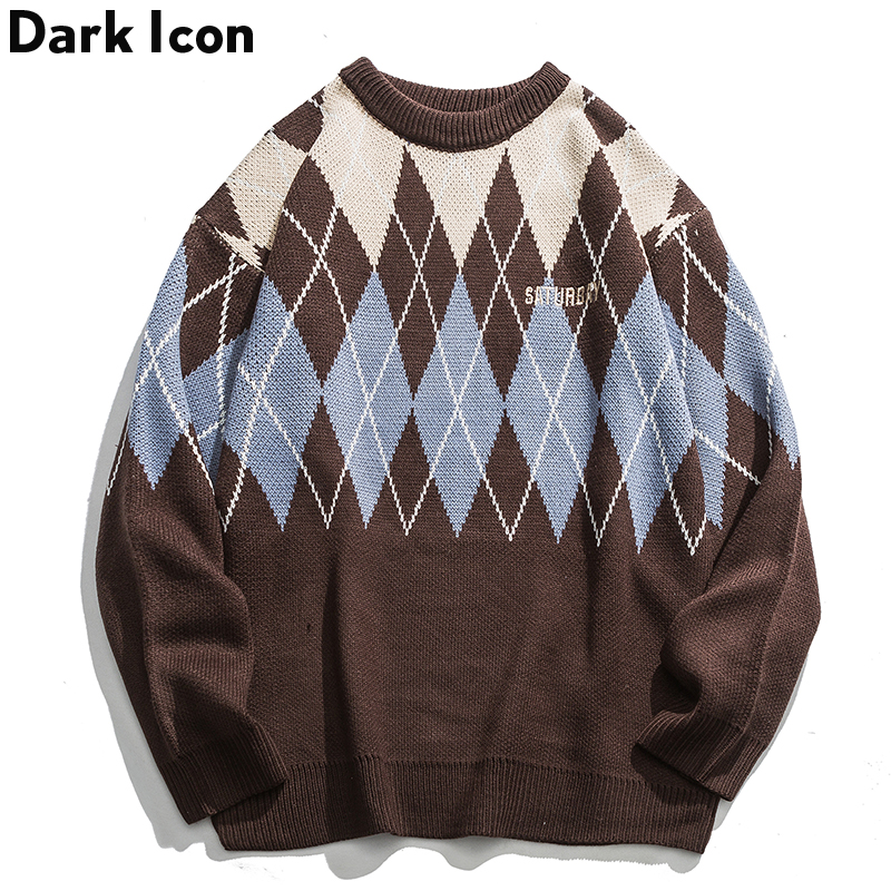 Dark Icon Geometric Jacquard-Knit Pullover Sweater Men Crew Neck Loose Style Men's Sweaters Hip Hop Sweater For Female