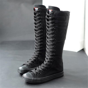 Image 1 - عالية الجودة أنبوب طويل الأحذية النسائية قماش غير رسمي الجانب سستة حزام أحذية رياضية أحذية نسائية الشتاء أحذية النساء الفخذ أحذية عالية