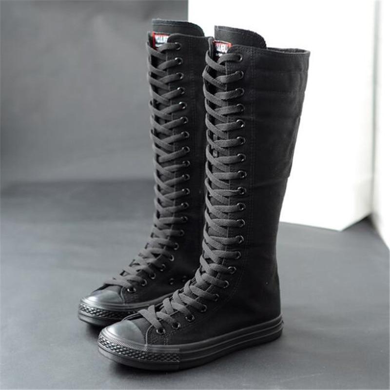 Casuais para Mulheres das Sapatilhas para Mulheres Botas de Inverno para Mulheres High-top Longo Tubo Cinta Lona Zíper Lateral Botas Sapatos Coxa Altas
