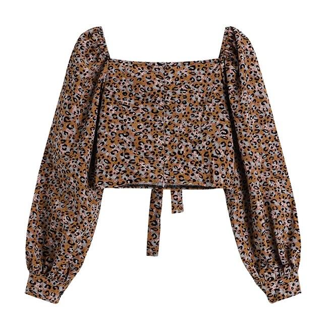 Beach Crop Blouse For Ladies Fashion Square Collar Long Sleeve Bownot Shirt Women Leopard Korean Chic Retro Street Blusas Tops 2