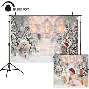 Allenjoy winter snowing photophone background Christmas tree snowman Snowflake castle bokeh photography backdrop photocall