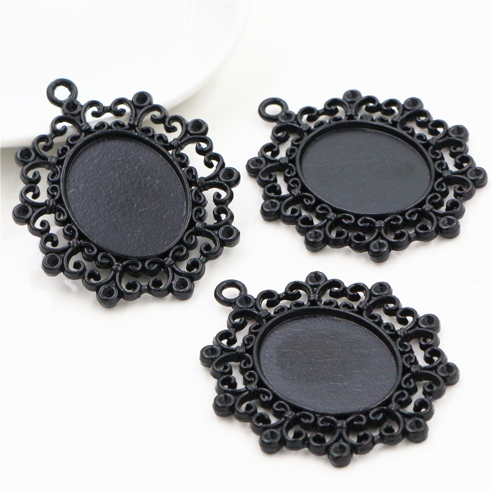 2pcs 18x25mm Inner Size Black Color Plated Fashion Style Cameo Cabochon Base Setting Charms Pendant Necklace Findings (C1-02)