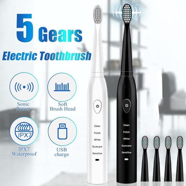 強力な超 sonic sonic 電動歯ブラシ USB 充電充電式歯ブラシ洗える電子歯ブラシ