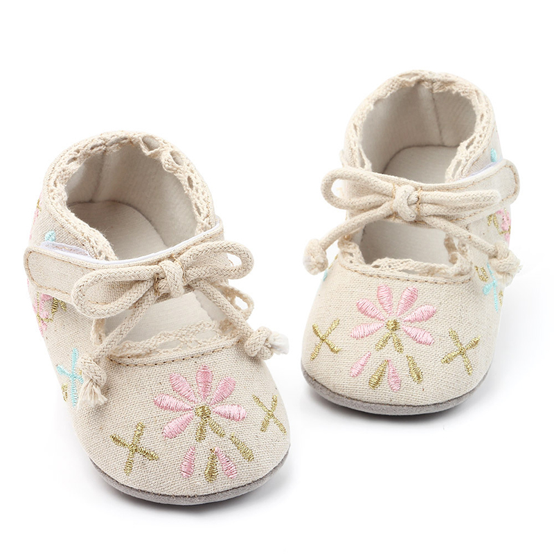 Newborn Kids Infant Toddler Bowknot Crib Baby Girls Shoes First Walkers Butterfly Embroidered Princess Baby Shoes Girls