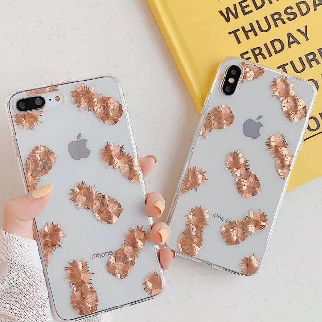 Luxury Glitter Transparent Case For iPhone 8 7 Plus X XS Max XR 11 Pro Max Gold Leaf  Clear Back Cover Soft Fundas Coque